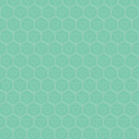 The green abstract background made out of white stroked hexagons Vector