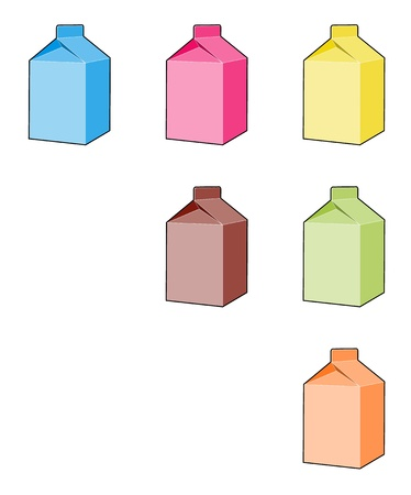 The set of six milk box illustrations Vector