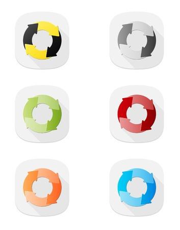 サイクル図アイコンと 6 つのボタンのセット