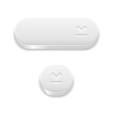 The set of two blank white buttons with download symbol Stock Vector - 22020607