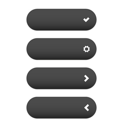 The oval dark grey buttons set with four different type icons Stock Vector - 22159811