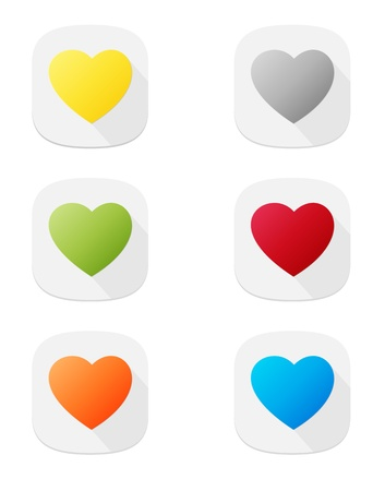 The set of six various heart icons Vector