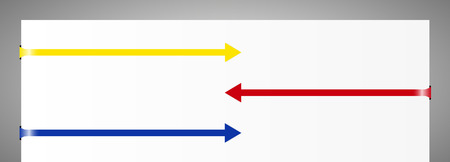 contrary: Set of yellow, red and blue contrary direction folded arrows Illustration