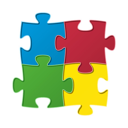 The composition made out of blue, green, red and yellow puzzle piece / The jigsaw composition / The puzzle Vector