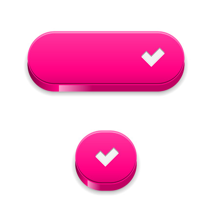 accept: The set of two pink buttons with white accept symbol Illustration