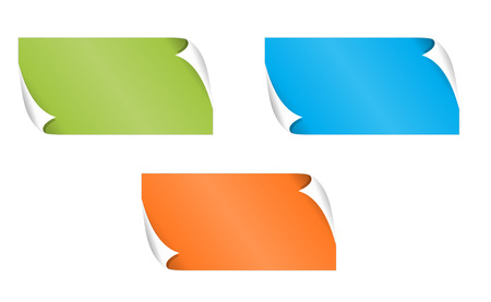 The set of green, blue and orange rectangle labels with bent corner