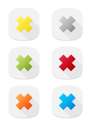 false: The set of six false icon buttons Illustration