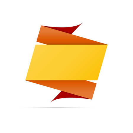 The blank origami style label in orange and yellow colors ready for your text Vector