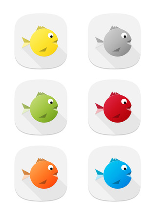 The set of six various color fish icons Stock Vector - 22597881