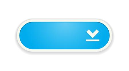 De download blauwe knop met wit frame