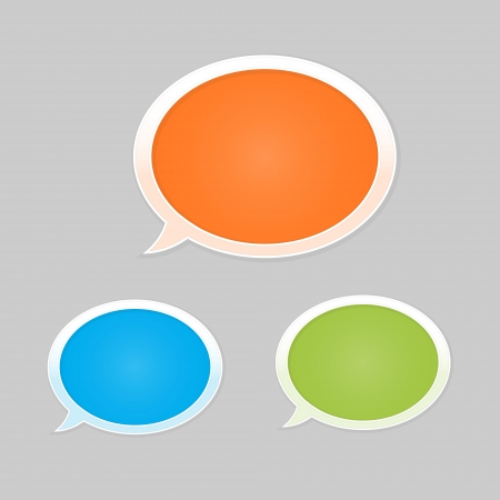 Set of orange, blue and green glossy blank speech bubbles Vector