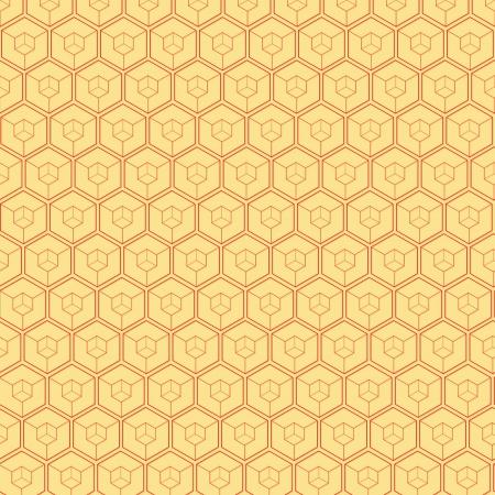 De gele abstracte achtergrond gemaakt van rood zeshoeken Stock Illustratie