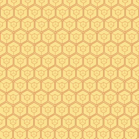The yellow abstract background made out of red hexagons