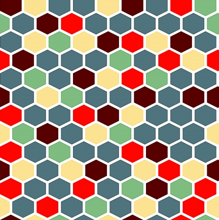 The retro background made out of hexagons in various colors Vector