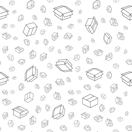unwrapped: The abstract background made out of paper box icons Illustration
