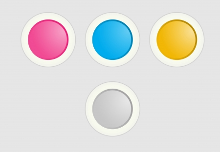 The set of pink, blue and yellow radio buttons Vector