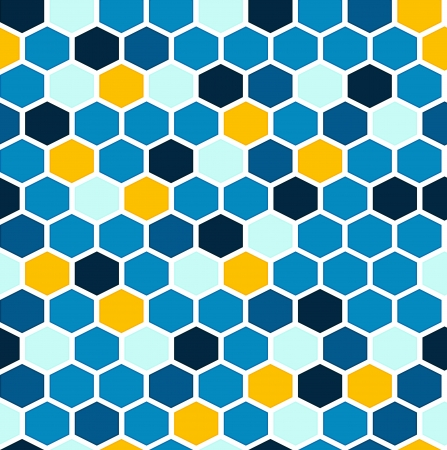 The retro background made out of hexagons in blue and yellow colors Vector