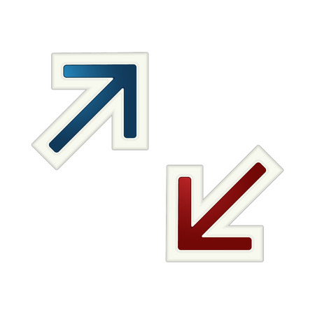 The pair of blue and red arrow with white stroke