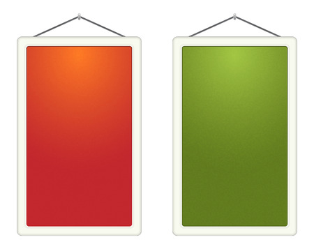 The pair of blank orange and green hanged boards Vector