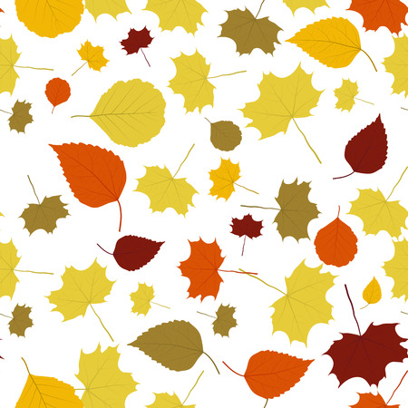 sear: The autumn background made out of falling leaves Illustration