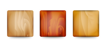 Set of three wooden blank buttons ready for your text Vector