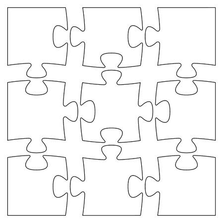 9 空白の隔離されたパズルのピースのセット