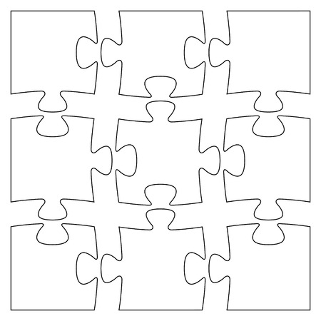 Set of nine blank isolated puzzle pieces