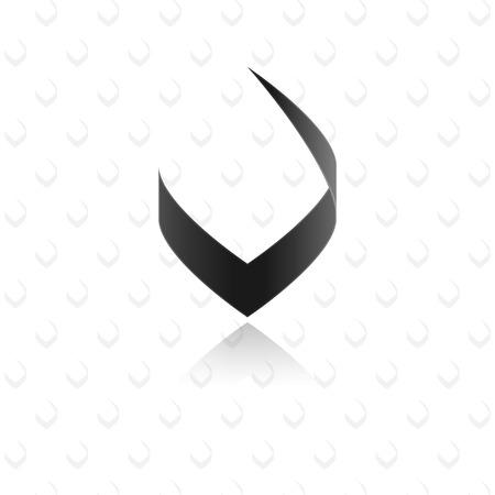 letter v: Modern stylish black letter V graphic element Illustration