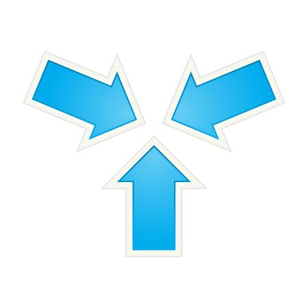 Het trefpunt gemaakt van drie blauwe pijlen