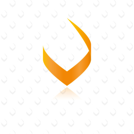 Modern stylish orange letter V graphic element  Ilustracja