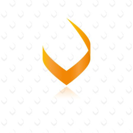 Moderne stijlvolle oranje letter V grafisch element
