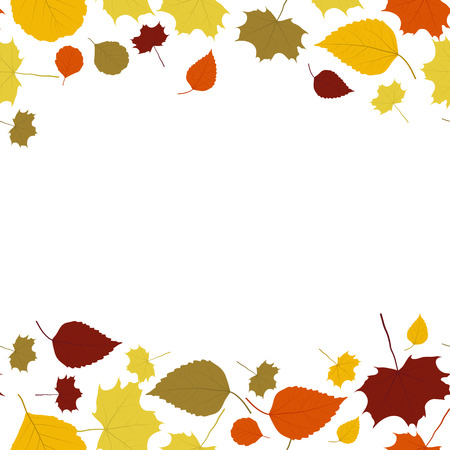 sear and yellow leaf: The autumn border made out of falling leaves Illustration