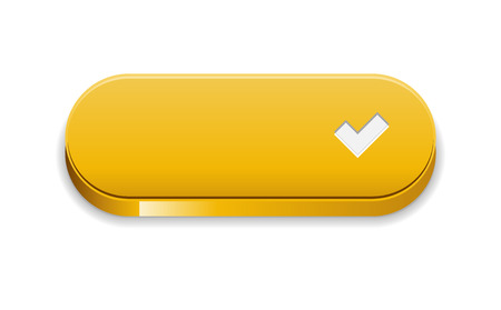 The accept yellow button with pictogram Vector