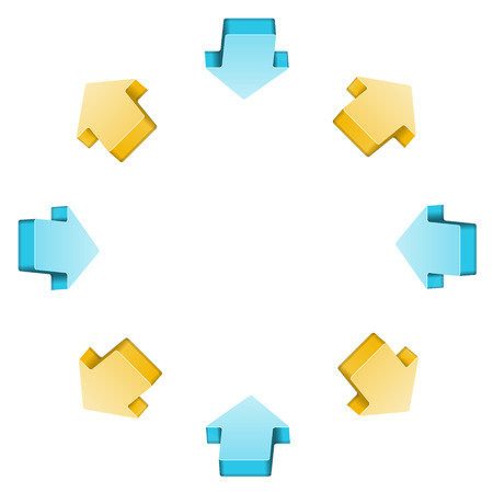 The communication circle made out of yellow and blue arrows  Vector