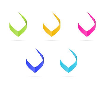 letter v: Set of three isolated stylish V graphic elements