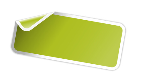 折り返しコーナーを持つ空白の長方形のラベル  イラスト・ベクター素材