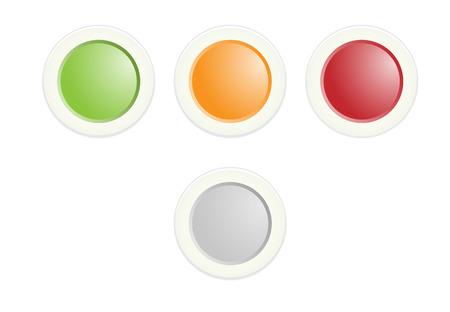 緑、オレンジ、赤のラジオ ボタンのセット  イラスト・ベクター素材