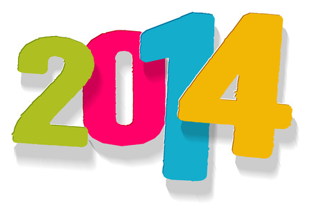 gambol: The stylish New Year sign in green, violet, blue and yellow color Illustration