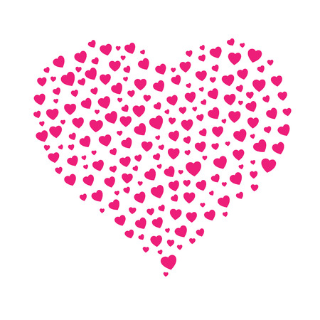 the heart shape made out of small pink hearts Vector