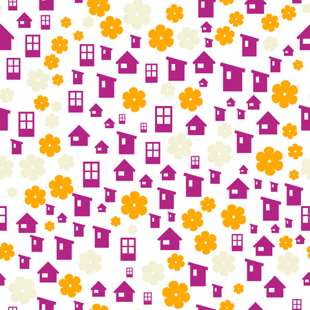 the abstract seamless background made out of houses and flowers Vector