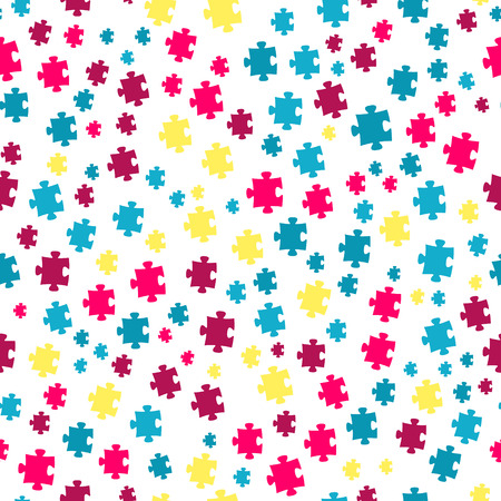 The puzzle background made out of blue, violet and yellow puzzle pieces Vector