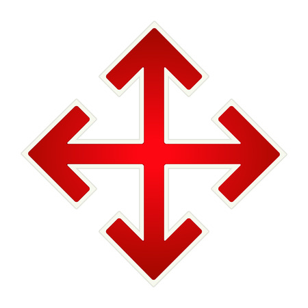 光沢のある赤い矢印交差点記号