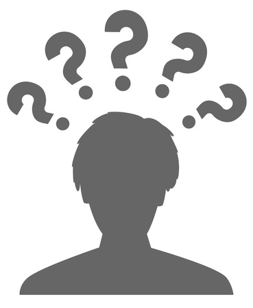 the pictogram of a head and five question marks Illustration