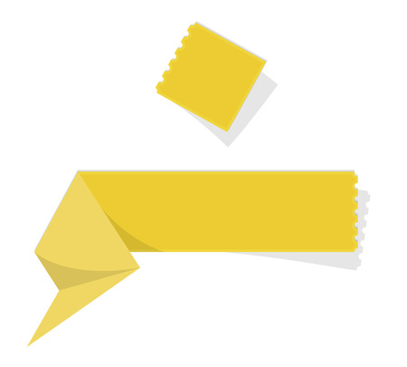 perforation: The blank yellow folded label with perforation Illustration