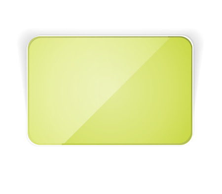 the blank green glossy rectangular button