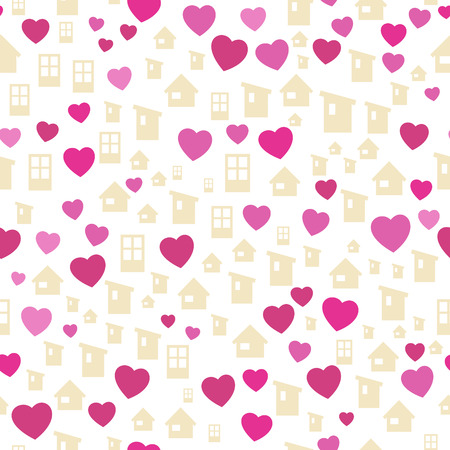 homely: the abstract seamless background made out of houses and hearts
