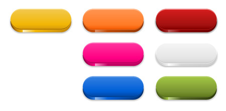 the set of seven color glossy blank oval buttons Vector