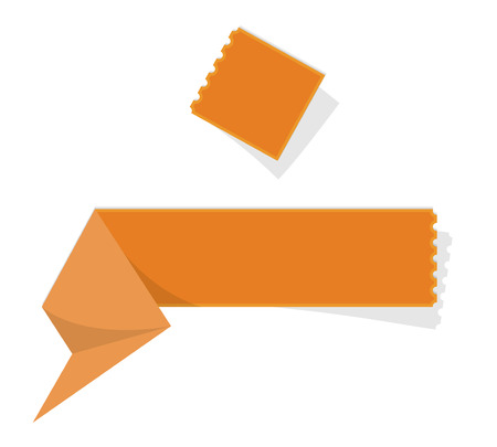 perforation: The blank orange folded label with perforation Illustration