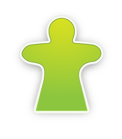 the glossy green woman silhouette pictogram with shadow