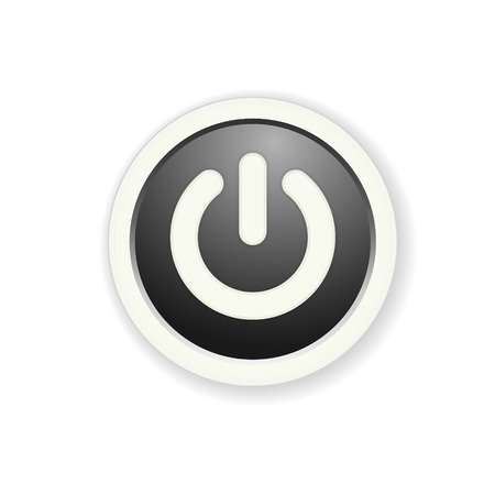 the black circle button with standby icon Vector